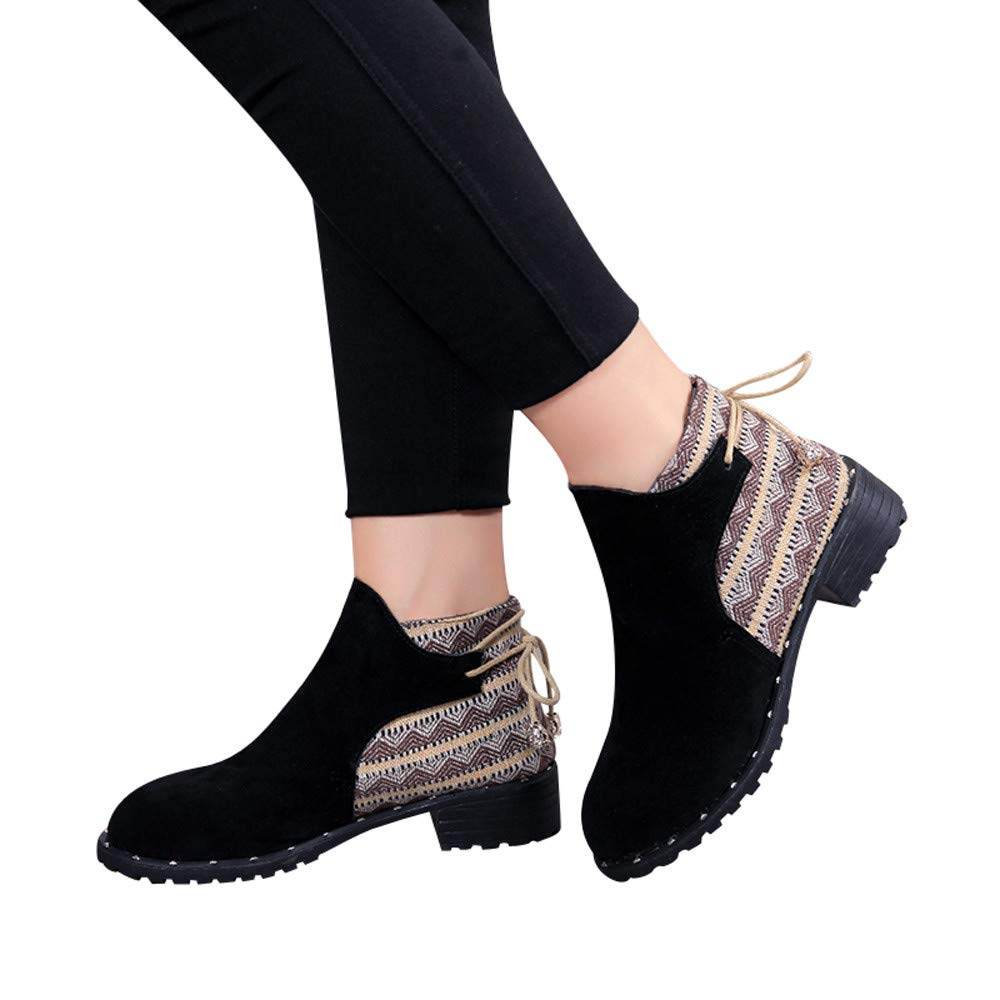 Farjing Women Flcok Boots Wedges Low Zipper Middle Tube Boots Casual Shoes Martin Boots(US:8,Black)