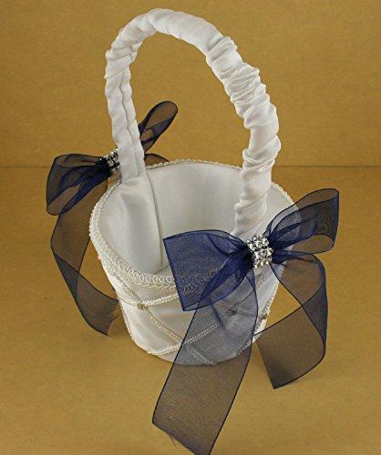 IVORY Wedding Flower Girl Lattice Design Basket Organza Bow & Faux Rhinestone Accent (NAVY BLUE ()