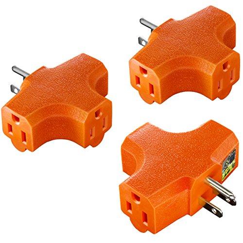3-Outlet Grounding Adapter, Kasonic [UL Listed] Plug Extender; Heavy-Duty Grounded Power Tap - 3 Pack (Power Splitter)