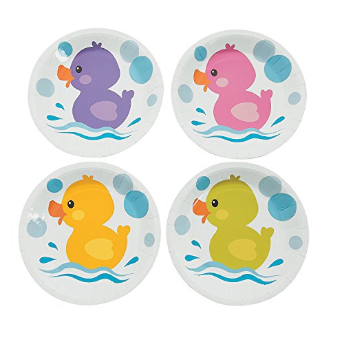 Fun Express Rubber Ducky Dessert Plates 8Pc - 8 Pieces - Ducky Dessert Plates