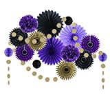Black Purple Party Decorations Paper Fans Tissue Pom Poms Birthday Wedding Aniversary Valentine Decoration Easy Joy (Black Purple)