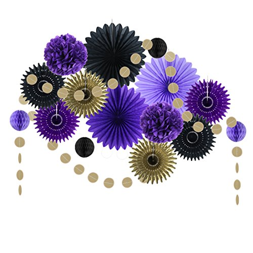 Black Purple Party Decorations Paper Fans Tissue Pom Poms Birthday Wedding Aniversary Valentine Decoration Easy Joy (Black Purple) -