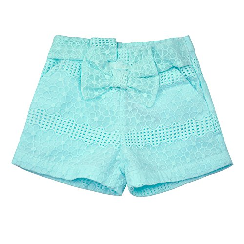 Lovely Embroidered - AIMBAR Kids Girls' Lovely Floral Embroidered Bowknot Elastic Waist Summer Shorts Age 4-13 Years (Green, 12-13 Years)