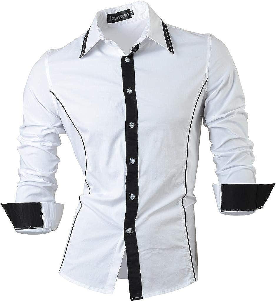 jeansian Camisas de Hombres Mangas Largas Moda Men Shirts Slim Fit Causal Long Sleves Fashion 2028