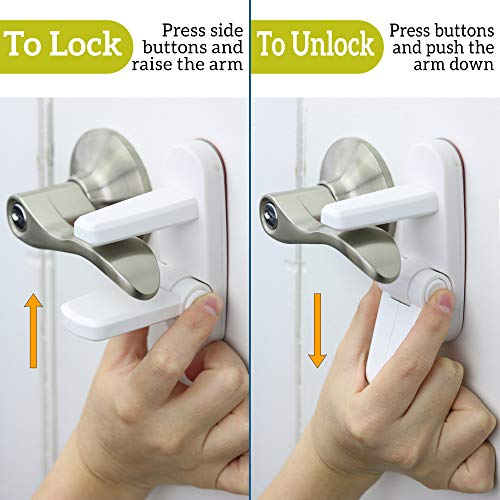 Improved Childproof Door Lever Lock 3-Pack Prevents Toddlers from Opening Doors. Easy One Hand Operation for Adults. Durable ABS with 3M Adhesive Backing. Simple Install, No Tools Needed by Wappa Baby (Image #1)