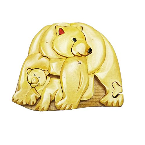 Coastal Wood Factory Handmade Art Intarsia Wooden Puzzle Box - Polar Bear (806)