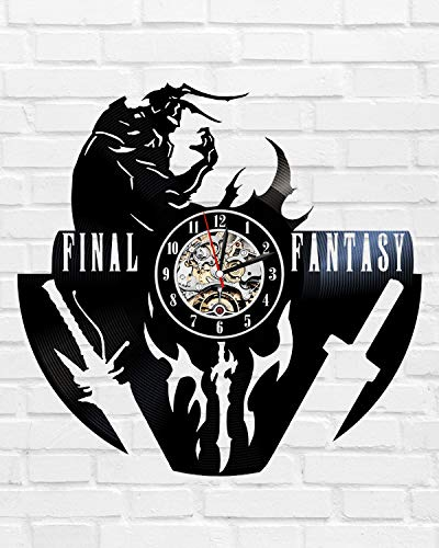 Kovides Retro Wall Clock Final Fantasy Minimalist Clock Birthday Gift Idea for Kids Decorations for Party Final Fantasy Art Vintage Vinyl Record Clock Final Fantasy Game