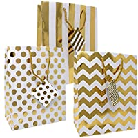 12 Gift Boutique Medium Metallic Gold Gift Bags; Polka Dots, Stripes and Chevron Exquisite Designs; Birthday, Graduation, Baby Shower, Wedding Gift Bags