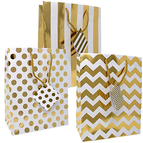 12 Gift Boutique Medium Metallic Gold Gift Bags; Polka Dots, Stripes & Chevron Exquisite Designs; Birthday, Graduation, Baby Shower, Wedding Gift Bags -