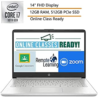 """2020 HP 14 14"""" FHD Laptop Computer, 10th Gen Intel Quard-Core i7-1065G7, up to 3.9GHz, 12GB DDR4 RAM, 512GB PCIe SSD, Silver, Windows 10, Online Class Ready, Webcam, Microphone, iPuzzle Mouse Pad"""
