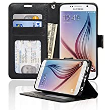 Samsung Galaxy S6 Wallet Folio Leather Life Protective Case with Four Card Pockets & Money Slot, Removable Strap - Navor (Black)
