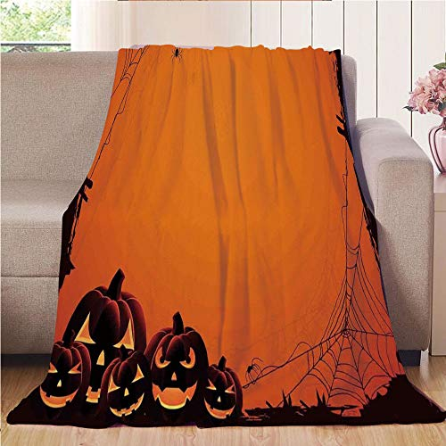 (Blanket Comfort Warmth Soft Cozy Air Conditioning Fleece Blanket Perfect for Couch Sofa Or Bed,Halloween Decorations,Grunge Spider Web Pumpkins Horror Time of Year Trick or Treat,Orange Seal Brown,5)