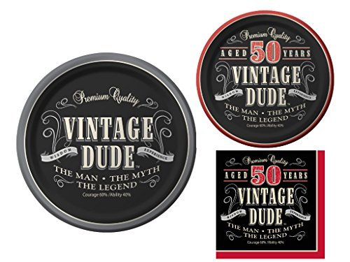 Vintage Dude 50th Birthday Party Supplies Bundle -