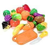 Emorefun Toys 18PCS Plastic Cutting Fruits and Vegetables Set Play Food Set for Pretend Play Educational Puzzle Learning Plastic Toy Satety