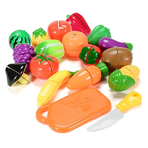 Funslane Toys 18PCS Plastic Cutting Fruits and Vegetables Set Play Food Set for Pretend Play Educational Puzzle Learning Plastic Toy Satety (Play Food Plastic Toy)