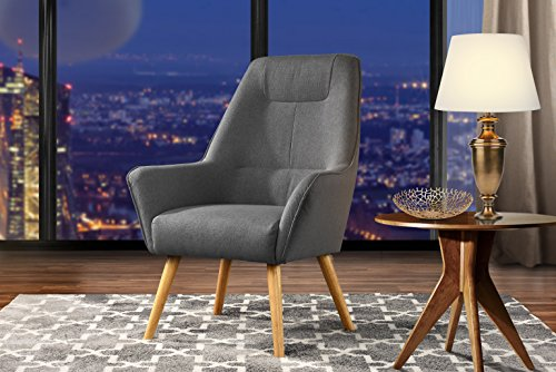 Accent Chair for Living Room, Upholstered Linen Arm Chairs with Natural Wooden Legs (Dark Grey)