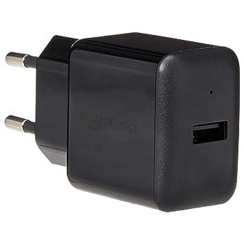 AmazonBasics – Cargador USB de pared de un puerto (2,4 amperios), Negro