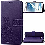 Galaxy Note 2 Case, Enjoy Sunlight [four leaf clover Purple] [Wrist Strap] [Stand Feature] PU Leather Flip Wallet Case Cover for Samsung Galaxy Note 2 N7100