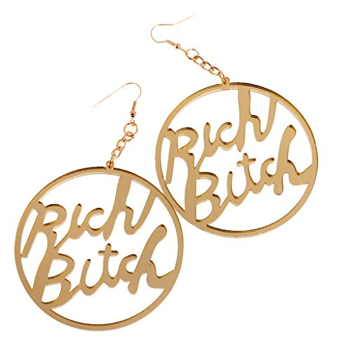 MonkeyJack Fashion Acrylic Oversized Round Rich Bitch Dangle Earrings Hip Hop Jewelry Gift - Gold