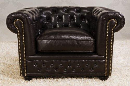 Chesterfield Sessel Dunkelbraun aus dem Hause Casa Padrino - Wohnzimmer Möbel Sessel Braun