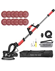 POWER PRO 1090X Drywall Sander, 800W Drywall Sander with Turbofan Dust Collection Design, 12 Sanding Discs, Vacuum Adapter, Surround LED Lights, 6 Variable Speed, Extendable Handle and Carrying Bag