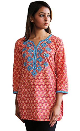 Ayurvastram Embroidered Block Printed or Solid Pure Cotton Tunic, Top, Kurti, Shirt, Blouse – S: Body Chest 34.5 inches, Orange, Mauve Print With Turquoise Emb