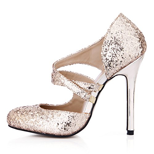 Dress SM00105 Heels 12CM Pumps Shoes Fashion Stiletto High Women Glitter Golden Glitter Gold DolphinGirl Toe Pointy zpO4RF