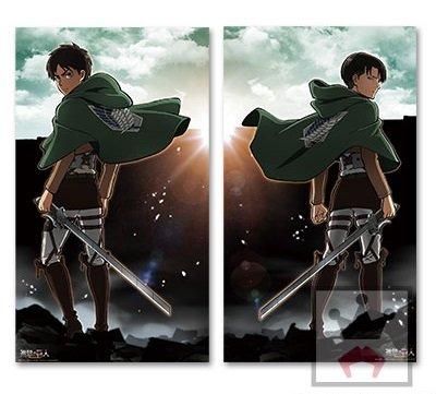 【希少】進撃の巨人 デラックスクリアポスター 全2種セット リヴァイ・エレン