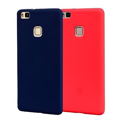 Funda HuaWei P9 Lite, Carcasa HuaWei P9 Lite Silicona Gel, OUJD Mate Case Ultra Delgado TPU Goma Flexible Cover para HuaWei P9 Lite - Azul + rojo