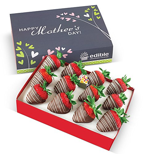 Custom Chocolate Edible Box - Edible Arrangements 12 Chocolate Dipped Strawberries With White Swizzle and a Mother's Day Box Sleeve