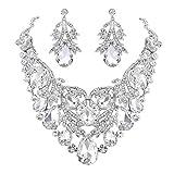BriLove Women's Bohemian Boho Statement Necklace Dangle Earrings Jewelry Set Crystal Teardrop Filigree Leaf Hollow Design Clear Silver-Tone