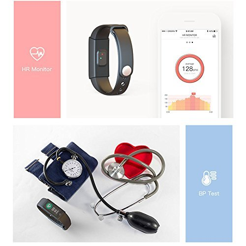 WOSUNG X6S-blue Smart Heart Rate Monitor Bracelet Fitness Tracker with Blood Pressure, Oxygen Monitor, Bluetooth Pedometer Fitness Smart Bracelet Watch for IOS Android Smartphone, Blue by WOSUNG (Image #4)