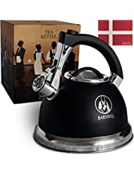 BARVIVO Premium Whistling Tea Kettle - Perfect for Preparing Hot Water Fast for Coffee or a Pot of Tea - Large 3 Quart Stainless Steel Water Boiler Suitable for any Stovetop Type and all Heat Sources