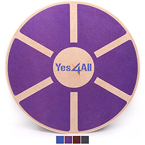 Yes4All Wooden Wobble Balance Board – Exercise Balance Stability Trainer 15.75 inch Diameter - Purple - - Wooden Balance Board
