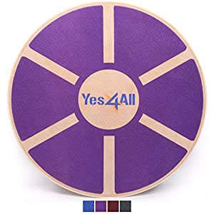 Yes4All Wooden Wobble Balance Board – Exercise Balance Stability Trainer 15.75 inch Diameter - Purple - ²WREKZ
