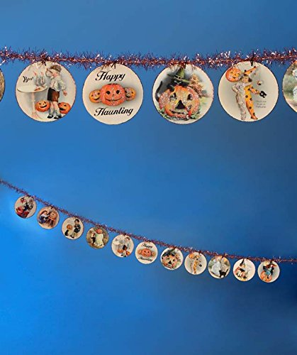 Bethany Lowe Halloween Disc Garland 6FT Happy Haunting Vintage Images Tinsel New