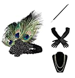 BABEYOND 1920s Flapper Gatsby Costume Accessories Set 20s Flapper Headband Pearl Necklace Gloves Cigarette Holder (Set-1)