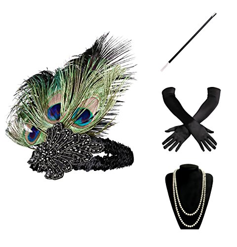 BABEYOND 1920s Gatsby Costume Accessories Set for Women Including Headband Necklace Gloves Cigarette Holder (Set-1) (20s Costume Women)
