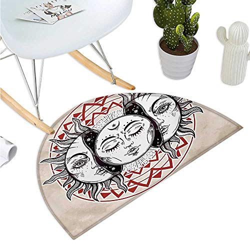 Moon Semicircular Cushion Oriental Eastern Culture Elements with Abstract Style Heavenly Bodies Tattoo Style Bathroom Mat H 15.7