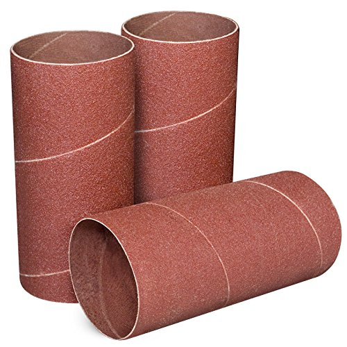 POWERTEC 11214 4.5 Inch Sanding Sleeves for Spindle Sander | 120 Grit | Aluminum Oxide Sandpaper Diameter 2 Inch - 3 Pack (Grit Drum Sander Sleeves)