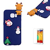 For Samsung Galaxy S6 Edge Soft Silicone Gel TPU Cover, Funyye Lovely 3D Christmas Doll pattern Cute Candy Colour Ultra Thin Slim Shockproof Non slip Protective Case for Samsung Galaxy S6 Edge -Elk Dark Blue