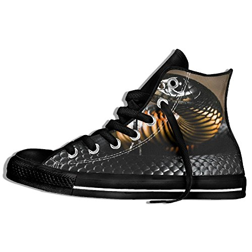 Classic High Top Sneakers Canvas Shoes Anti-Skid Black Snake Casual Walking For Men Women Black BbhK82t