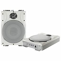 Lanzar Marine Amp Woofer and Speaker Package - AQTB8 8\'\' 1000 Watts Low-Profile Super Slim Active Amplified Marine/Waterproof Subwoofer System - AQ5DCS 300 Watts 5.25\'\' Dual Cone Marine Speakers (Silver Color) (Pair)