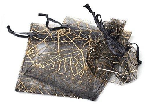 50 pcs Gift Bag Pouches Spider Web Transparent Black & Gold Drawstring, Wedding, Gothic, Halloween Gift ()