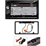 Jensen VX7023 6.2 Double-Din Navigation DVD/CD/MP3 Car Stereo Receiver +AUX/USB Cache Night Vision Car License Plate Rearview Camera - Black CAM810B