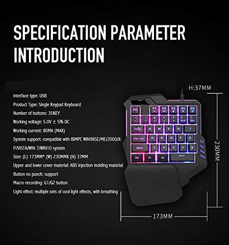 DishyKooker G30 Wired Gaming Keypad with LED Backlight 35 Keys One-Handed Membrane Keyboard for LOL//PUBG//CF G30 High Configuration RGB Version