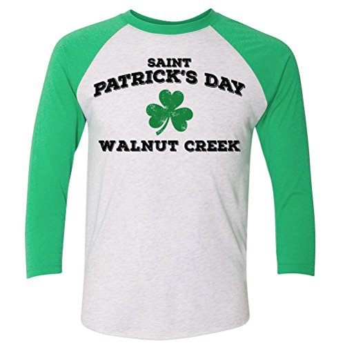 ShirtScope ST Patrick's Day Walnut Creek CA Baseball Raglan Shirt - Ca Creek Shop Walnut Gift