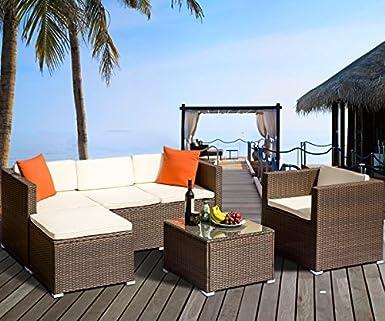 Amazon.com: FLIEKS - Juego de muebles de mimbre para patio y ...
