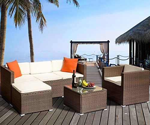 Tenozek 6 Pieces Outdoor Sectional Sofa Patio Furniture Set Wicker Rattan Conversation Set (Brow ...