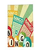 Interestlee Fleece Throw Blanket Vintage Decor Bingo Game with Ball and Cards Pop Art Stylized Lottery Hobby Celebration Theme Multi